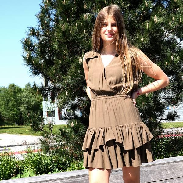 Bilde av Designers Remix Girls - Eliza Ruffle Dress Brun